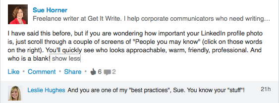 Praise for Sue's LinkedIn skills