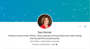 Sue's LinkedIn profile
