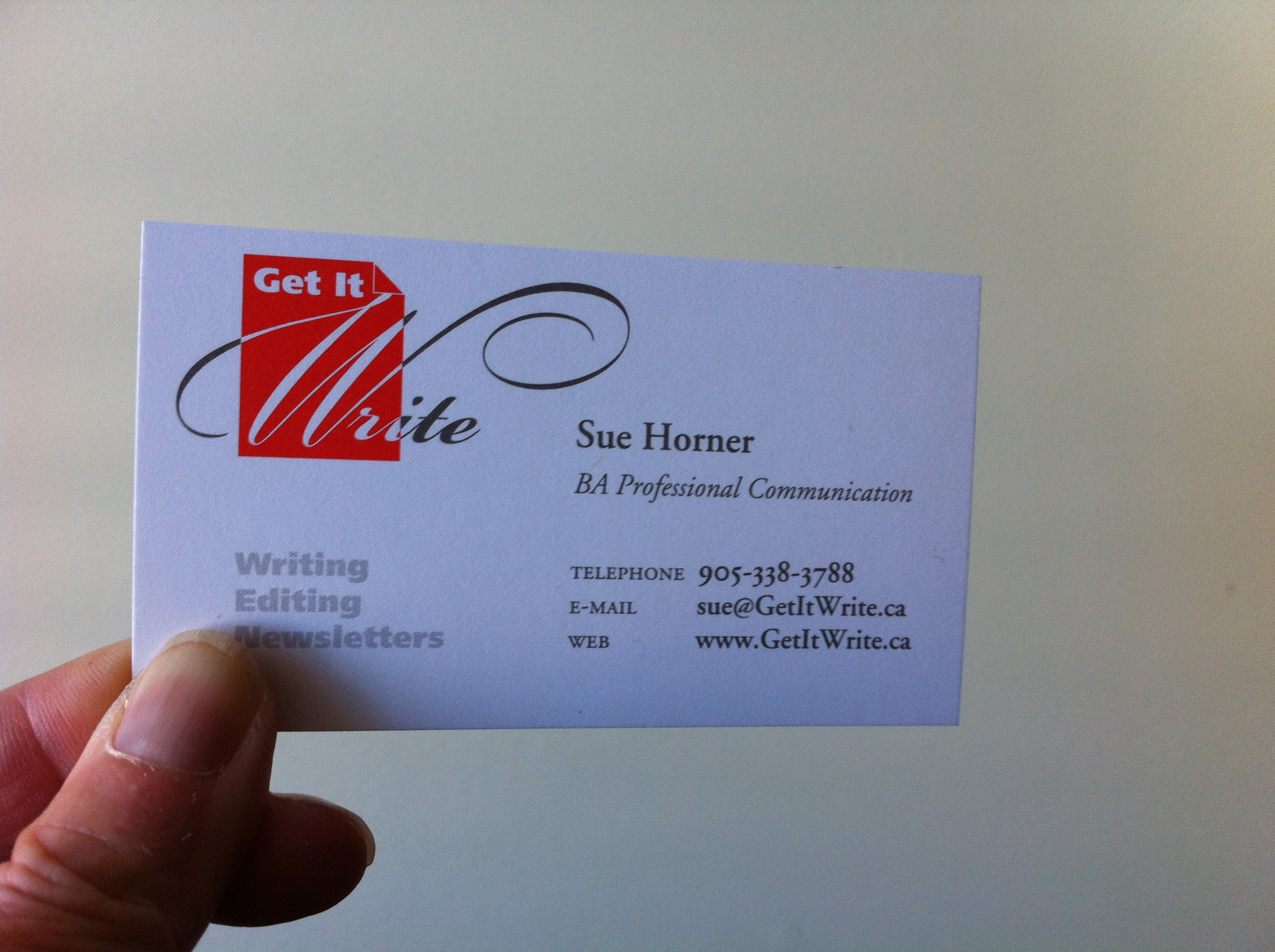 Sue's business card