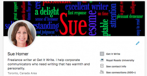Sue's LinkedIn header