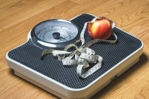 Scale representing New Year's resolutions