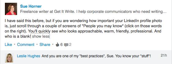 Praise for Sue's LinkedIn skills