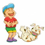 Sketch of boy laughing