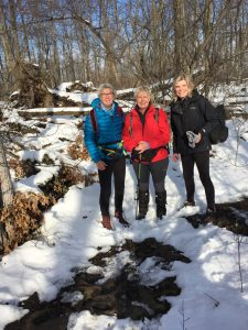 3 hikers in snow
