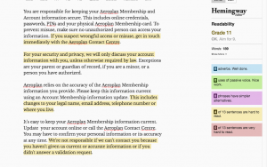 Aeroplan text - after rewrite